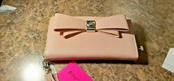 Betsey Johnson Blush Zia Large Zip Around Wallet Wristlet Phone Clutch NWT $15.99
