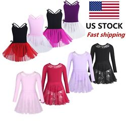 US Girls Kids Dance Dress Ballet Crop TopTutu Skirt Gymnastic Leotard Dancewear