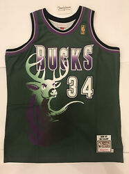 Champion Ray Allen Bucks Authentic Mitchell And Ness Jersey Gold Logo Sz 48