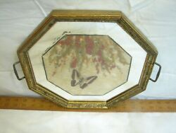 Vintage Tiger Butterfly Wing Weed N Seed Folk Art Serving Wood Tray Octagon