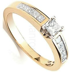 Princess Cut Diamond Solitaire Ring 18k Gold 0.50ctw Certificated Large Size R-z