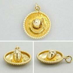 14k Solid Real Genuine Yellow Gold Sombrero Hat Mexico Mexican 3d Charm Pendant
