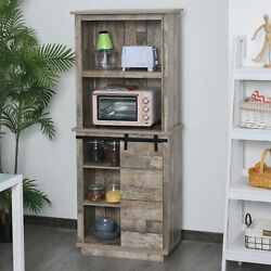 Rustic Wood Large Freestanding Cupboard Storage Cabinet with 5 Tier Shelves