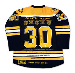 Gerry Cheevers Career Jersey 1 Of 299 - Autographed - Boston Bruins