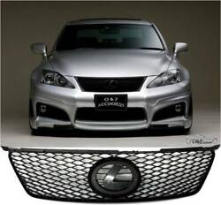 For 2006 2008 Lexus IS250 IS350 Black Sport Mesh Grill Front Hood Bumper Grille