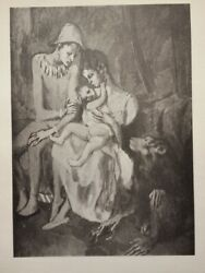 1905 Family With A Monkey Pablo Picasso Black And White Lithograph Print