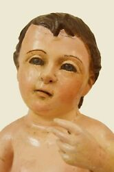 Antique Spanish Colonial Hand Carved Wood Large Baby Santos With Glass Eyes 2