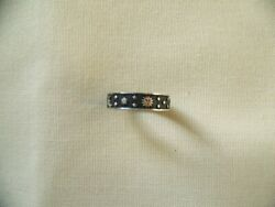 Antique Celestial Sterling Silver Band Wed Ring New Sz 9 1/4