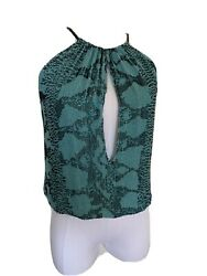 Vintage By Tom Ford Beaded Turquoise Python Snakeskin Print Top Blouse S