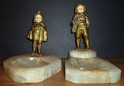 Antique Signed Georges Omerth Fisherman Boy Red Riding Hood Caped Girl