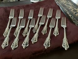 12 Wallace Grande Baroque Sterling Silver Place Fork No Monogram 7 1/2 Inches