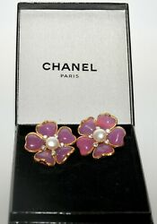 Rare Vintage Poured Glass Gripoix Pink Flower Earrings Pearl Center