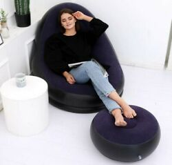 Modern Inflatable Chair and Footstool Ottoman Portable Navy Blue Dorm Furniture