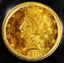 1871 50c Gold Liberty Round Bg-1046 R-7 50c Pcgs Ms64 Ogh Only 1 Graded Higher