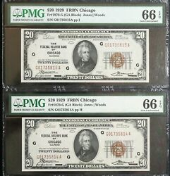 1929 20 Federal Reserve Bank Note Chicago Pmg 66 Epq Consecutive Numbers