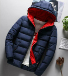Men Winter Warm Bubble Puffer Cotton Coat Hooded Thick Slim Fit Jacket Tops New
