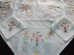 Vintage Embroidered Rayon Tablecloth And 2 Napkins And Doily Flowers And Bows