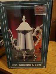 New Wm Rogers And Sons Coffee/tea Pot Silver-plated Vg Condition 9 3/8andrdquo Tall