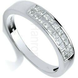Certificated Diamond Eternity Ring Two Row Princess White Gold Large Sizes R - Z