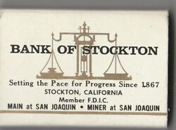 Vtg Strike On Match Box With Local Ad And Sticks Bank Of Stockton Wh