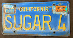 """California License Plate Vintage Reads Sugar 4"""" Collectible Vanity Plate"""