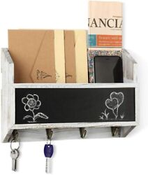 Wooden Wall Mount Mail Holder Organizer – Rustic Key Holder With Chalkboard