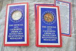 1973 Sterling Silver And Bronze California American Revolution Medallions