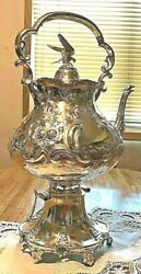 International Silverplate Extremely Ornate Tilting Hot Water Kettle Xlnt Condn