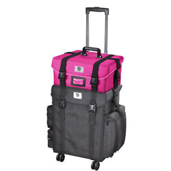 Soft Sided Oxford Makeup Trave Case With Pink Makeup Cosmetic Strap Bag Box