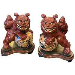 Two Vintage Ceramic Chinese Pho Dogs On An Hand Painted Wood Base Circa 1950