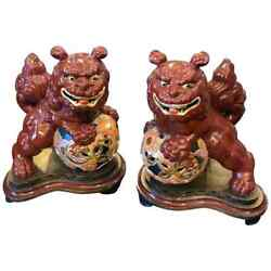 Two Vintage Ceramic Chinese Pho Dogs On An Hand Painted Wood Base About 1950