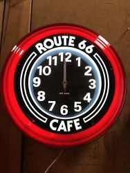 clear Red Translucent Route 66 Cafewall Clock 14d