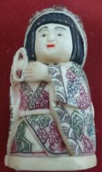 Japanese Woman Hand Carved Polychromatic Netsuke In Resin False-ivory-signed