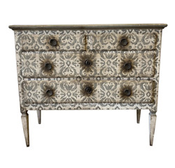 Italian Antique Painted Commode Chest Of Drawers- 19th C