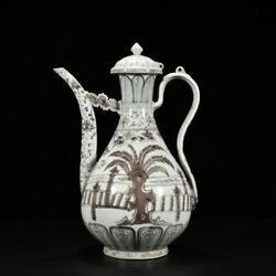 14.6 Fine Chinese Antique Porcelain Hongwu Red Plantain Bamboo Flower Teapots