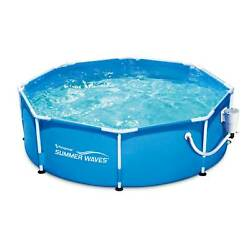 Summer Waves 8ft X 30in Round Frame Above Ground Swimming Pool, Pump Open Box