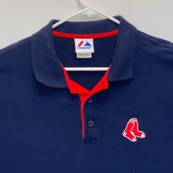 Boston Red Sox Mens Golf Polo Blue Large