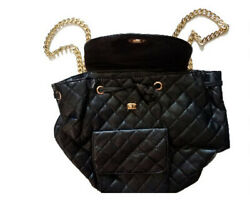 Cute Black Polyester PVC Backpack Purse with Faux Gold Chain Straps $16.99