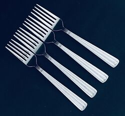 4 Wallace Kingston Salad Forks Glossy Ribbed Stainless Heavy Duty Retired