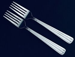 2 Wallace Kingston Salad Forks Glossy Ribbed Stainless Heavy Duty Retired