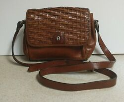 ETIENNE AIGNER Woven Leather Mahogany Handbag Shoulder Cross Bag Purse $9.99