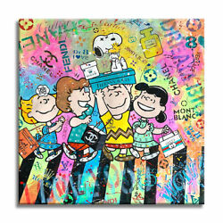 Snoopy Abbey Road Original Paintingoil Acrylic Stencils On Canvas Signed