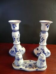 2 Delft Blue Candle Holders 7 Tall And Small Tray With Salt And Pepper Shakers