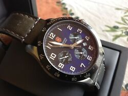 Victorinox Swiss Army 241188 Men's Automatic Blue Dial Watch Blk Leather Band 👀