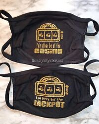 Custom Made Casino Themed Face Mask New Slots **You Pick Mask And Decal Color $12.50