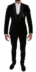 Dolce And Gabbana Suit Cotton Brown Slim Fit Crown Bee 3 Piece Eu44/ Us34/xs 3800