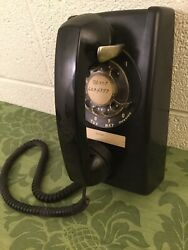 Vintage Black Bell System Western Electric 554 Bmp Rotary Dial Wall Phone 5/83