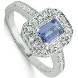 Aaa Tanzanite And Diamond Ring 18k White Gold Halo Certificate Large Size R - Z