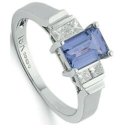 Aaa Tanzanite And Diamond Ring 18k White Gold Certificate Large Sizes R - Z