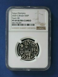 2020 Silver Proof 50p Coin Tokyo Olympics - Team Gb Ngc Graded Pf69